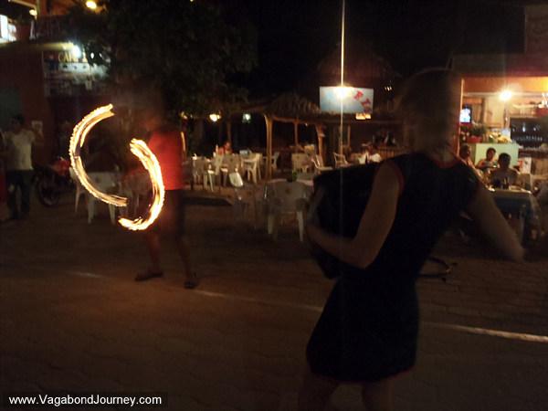 Fire dancing street performance