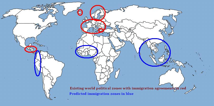 Multi country immigration zones and world travel predicted world political zones gumiabroncs Image collections