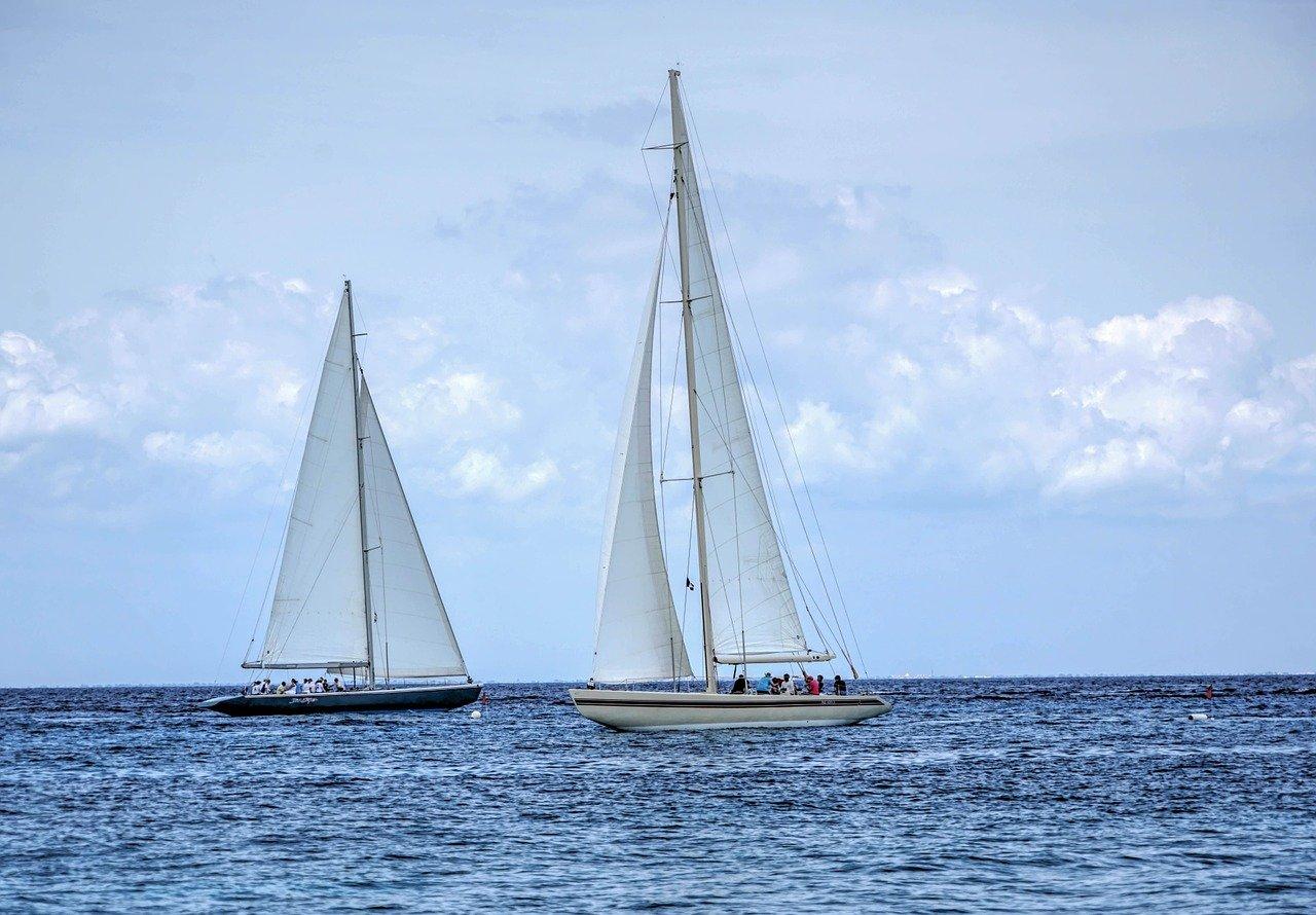 Sail boats floating