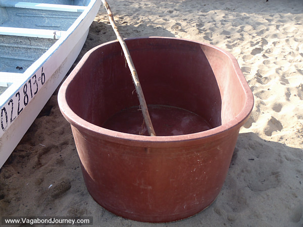 A tub that the fishermen in Mexico use as a dinghy