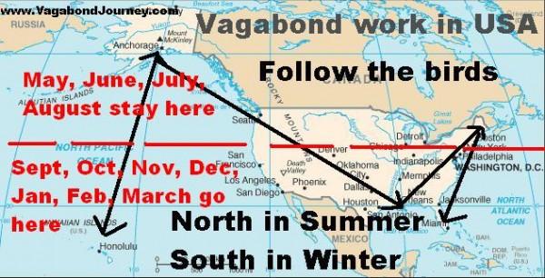 Seasonal work in USA map