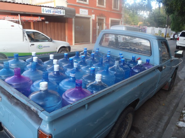 Bottled water truck in Oaxaca, Mexico