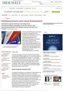 «Suhrkamp kommt unter einen Schutzskirm.» Die Welt, 27.5.2013.