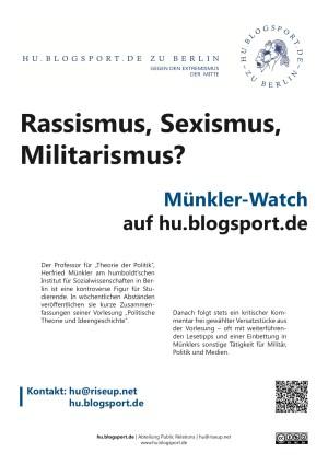 En av flere nedlastbare flyere hos «Münkler-Watch». Kilde: hu.blogsport.de.