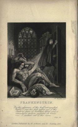 Illustrasjon fra den første Frankestein-utgaven (1818).