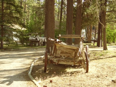 a broken wagon in Big Bear