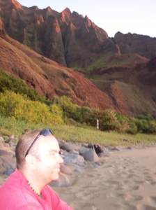 sitting on the beach in Kalalau