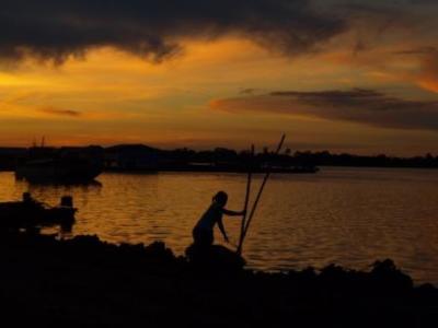 fishing in Peru sunset
