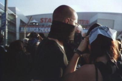 protestor in mask