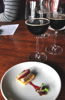 A Monteith Black is paired with blue cheese, red wine-poached pears and caramelized onion at St. Johns Bar. Photo by Katherine Rodeghier
