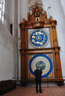 A giant astronomical clock attracts visitors to St. Mary's Church. Photo by Katherine Rodeghier