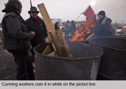 Cunning workers coin it in while on the picket line