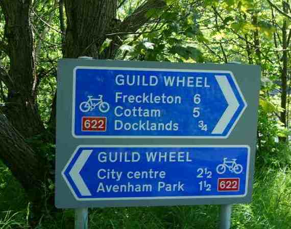 Signing the way on the Preston Guild Wheel