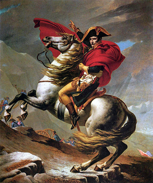 Napoleon crosses the St. Bernard by Jacques-Louis David (1800) [Public domain], via Wikimedia Commons