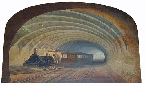 Baker Street Station, Metropolitan Railway, late Victorian lithograph by Samuel J. Hodson (Jackson, Alan (1986) London's Metropolitan Railway, David & Charles ISBN: 0-7153-8839-8. ) Hodson, Samuel John, born 1831 - died 1908 V&A Collections accessed 20 May 2012 (Bonhams) [Public domain], via Wikimedia Commons