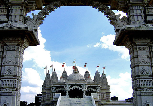 Commonly known as the Neasden Temple, the Shree Swaminarayan Hindu Mandir was  the first Hindu temple to be built in the UK in a traditional architectural style  www.CGPGrey.com [CC-BY-2.0 (http://creativecommons.org/licenses/by/2.0)], via Wikimedia Commons