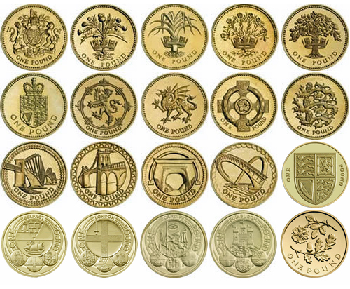 Pound coin reverse designs representing the United Kingdom and its four constituent parts - Scotland, Wales, Northern Ireland and England in distinct series - floral, heraldic, architectural, capital cities and back to floral