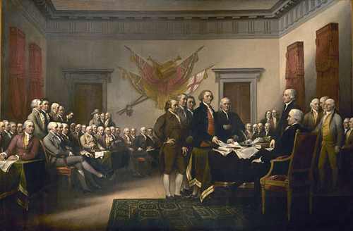 Signing of the Declaration of Independence by John Trumbull [Public domain or Public domain], via Wikimedia Commons