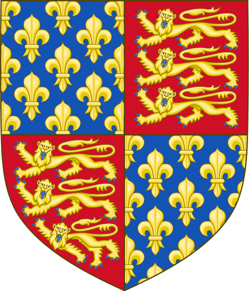 Royal Arms of England created under the orders of Edward III and incorporating the flour-de-lis of France By Sodacan         This vector image was created with Inkscape. (Own work) [GFDL (http://www.gnu.org/copyleft/fdl.html) or CC-BY-SA-3.0-2.5-2.0-1.0 (http://creativecommons.org/licenses/by-sa/3.0)], via Wikimedia Commons