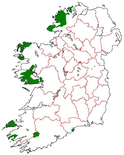 Gaeltacht areas in Ireland By D.de.loinsigh at English Wikipedia [Public domain], via Wikimedia Commons