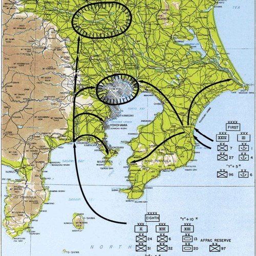 Plan for Operation Coronet - the invasion of Honshu and the Tokyo metropolitan area