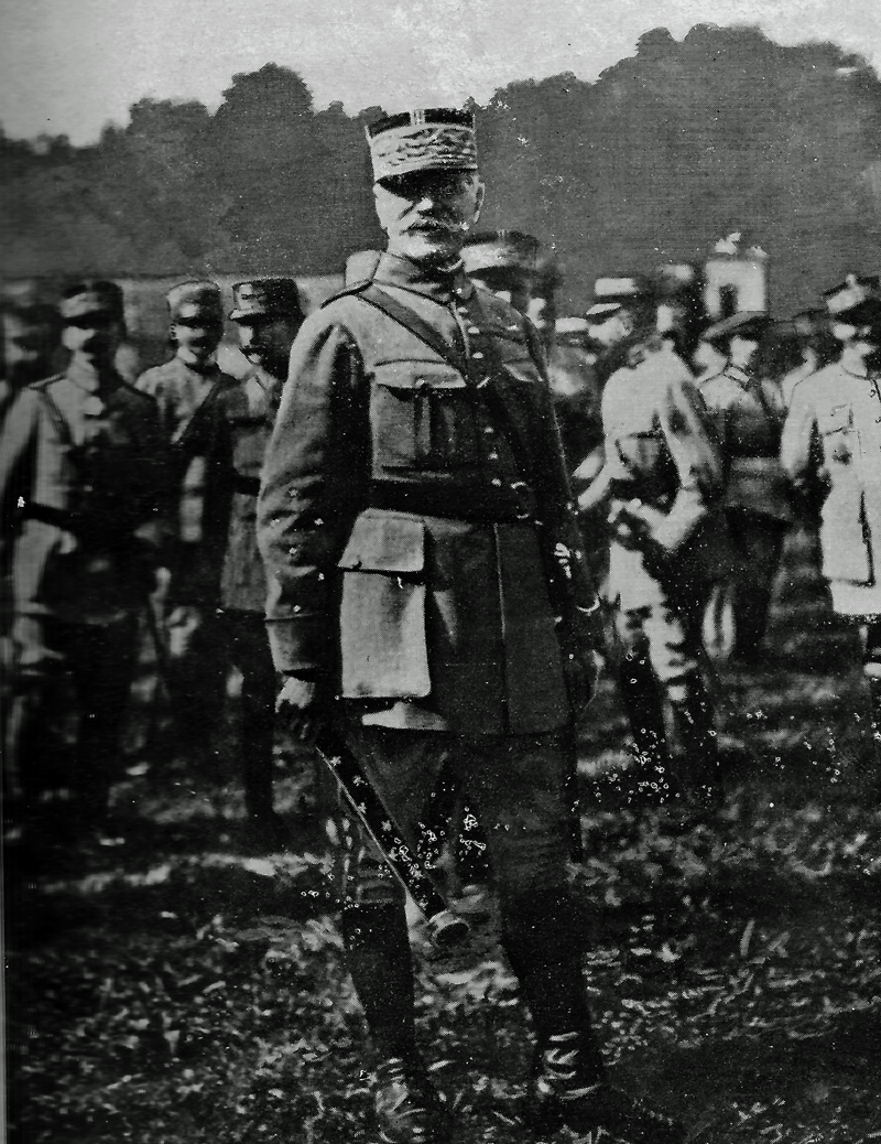 Ceremony of promotion to marechal of General Ferdinand Foch in 23 od October of 1918, when he receives the Marshal of France distiction 1 January 1919 - Illustrated Michelin Guides to the Battlefields