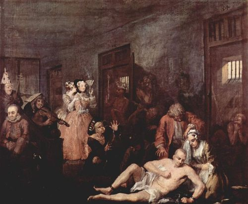 A Rake's Progress - Plate 8 - In The Madhouse by William Hogarth [Public domain or Public domain], via Wikimedia Commons