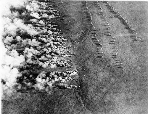 "This image shows a World War I German gas attack on the eastern front, and was photographed from the air by a Russian airman. The image was titled, ""German Frightfulness from the Air"" Bundesarchiv, Bild 183-F0313-0208-007 / CC-BY-SA [CC-BY-SA-3.0-de (http://creativecommons.org/licenses/by-sa/3.0/de/deed.en)], via Wikimedia Commons"