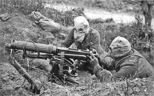 British Vickers machine gun crew wearing PH-type anti-gas helmets. Near Ovillers during the Battle of the Somme, July 1916. The gunner is wearing a padded waistcoat, enabling him to carry the machine gun barrel. See Image:Vickers machine gun crew with gas masks rear view.jpg for an alternate view of this crew British Vickers machine gun crew wearing PH-type anti-gas helmets. Near Ovillers during the Battle of the Somme, July 1916. The gunner is wearing a padded waistcoat, enabling him to carry the machine gun barrel. See Image:Vickers machine gun crew with gas masks rear view.jpg for an alternate view of this crew British Vickers machine gun crew wearing PH-type anti-gas helmets. Near Ovillers during the Battle of the Somme, July 1916. The gunner is wearing a padded waistcoat, enabling him to carry the machine gun barrel. See Image:Vickers machine gun crew with gas masks rear view.jpg for an alternate view of this crew British Vickers machine gun crew wearing PH-type anti-gas helmets. Near Ovillers during the Battle of the Somme, July 1916. The gunner is wearing a padded waistcoat, enabling him to carry the machine gun barrel. See Image:Vickers machine gun crew with gas masks rear view.jpg for an alternate view of this crew John Warwick Brooke [Public domain], via Wikimedia Commons