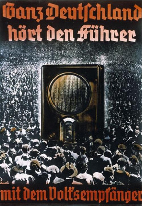 Ganz Deutschland hört den Führer mit dem Volksempfänger - All of Germany hears the Fuhrer on the People's Sender - propaganda poster c. 1933