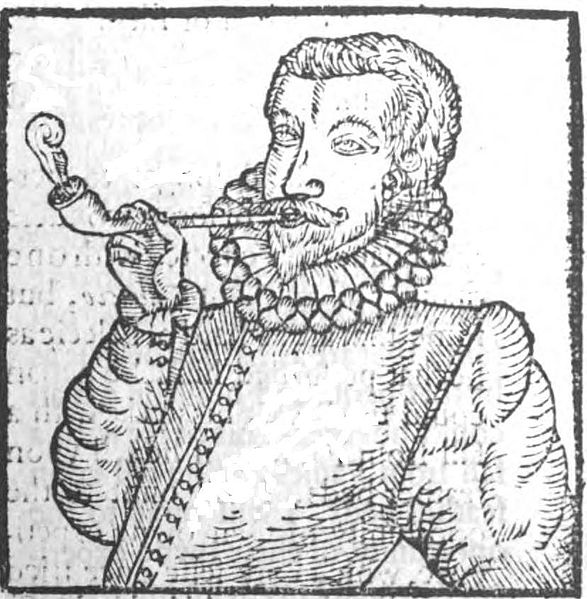 "First known image of a man smoking, from Chute's pamphlet ""Tabaco"" By Anthony Chute (Tabaco) [Public domain], via Wikimedia Commons"