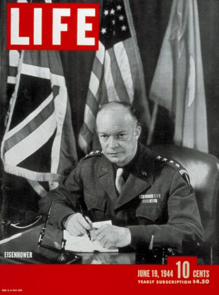 Cover of the 19 June 1944 issue of Life (magazine) with Gen. Dwight D. Eisenhower By LIFE magazine, Time Inc., Official U. S. Army Photo in cover (Google images) [Public domain], via Wikimedia Commons