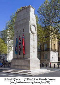 The Cenotaph on Whitehall in London is designated as the United Kingdom's primary war memorial. It commemorates the end of World War One.