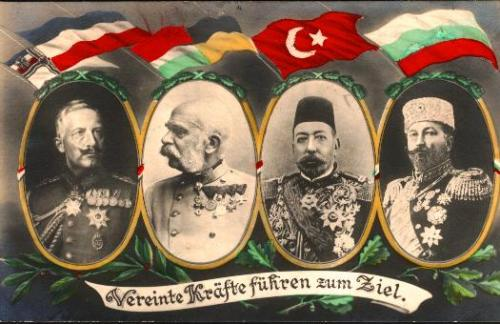 "WW1 postcard showing Central Powers monarchs: Germany (Prussia), Austria-Hungary, Ottomans, Bulgaria ""Vereinte Kräfte führen zum Ziel"" (United powers lead to the goal) By Publ. Photochemie Berlin No. 3603 [Public domain], via Wikimedia Commons"