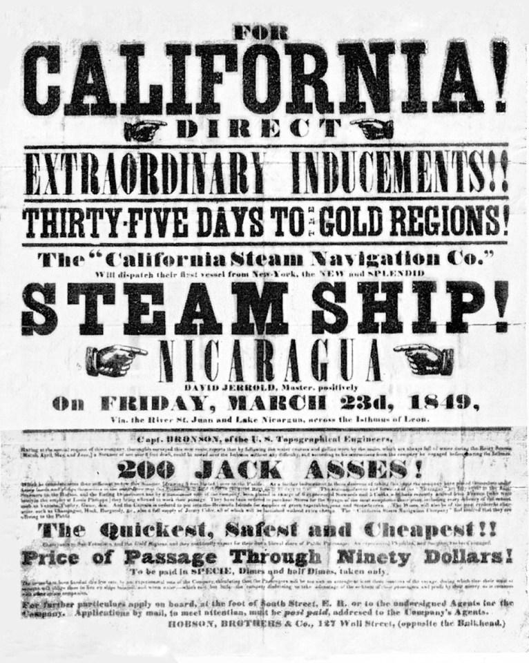 An 1849 handbill from the California Gold Rush
