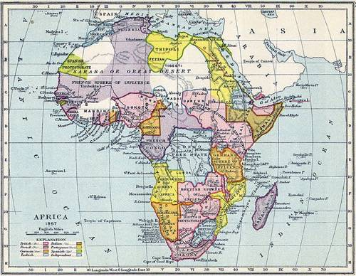 Map depicting European spheres of influence in African in 1897 By Gardiner's School Atlas of English History (Scan of original) [Public domain], via Wikimedia Commons