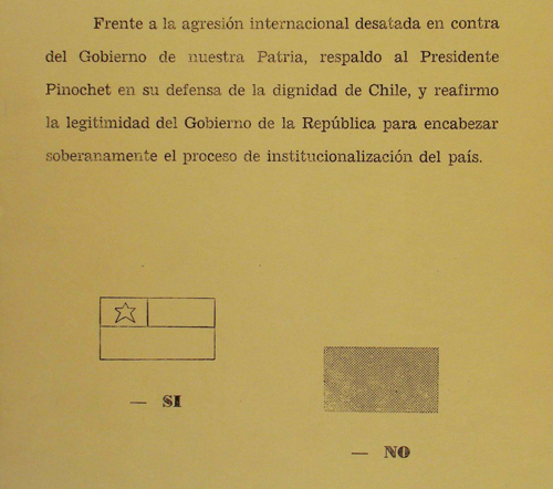 Chilean national consultation 1978 ballot paper See page for author [Public domain], via Wikimedia Commons