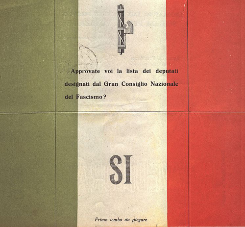 "Fascist ballot paper, Legislatura XXIX, politic election, 25 marzo 1934, front side of the ""Sì"" (Yes) ballot paper. The ""NO"" ballot paper is similar but completely white (without the Italian flag colour), so the vote was not secret. You can read: ""Do you agree with the list of deputies chosen by the Grand Council of Fascism?"" By Oggetto di mia (Accurimbono) proprietà. (Own work) [Public domain], via Wikimedia Commons"