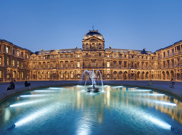 Cour Carrée (Square courtyard) of Museum of Louvre, at dusk By Benh LIEU SONG (Own work) [CC BY-SA 3.0 (http://creativecommons.org/licenses/by-sa/3.0)], via Wikimedia Commons
