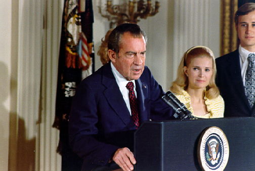 Richard Nixon's resignation speech By Ollie Atkins, White House Photographer [Public domain], via Wikimedia Commons