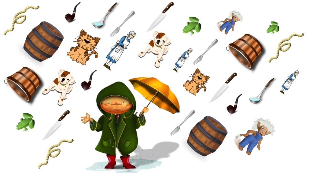 Raining cats and dogs and buckets and barrels and knives and forks and frogs and old women and trolls and pipes and rope