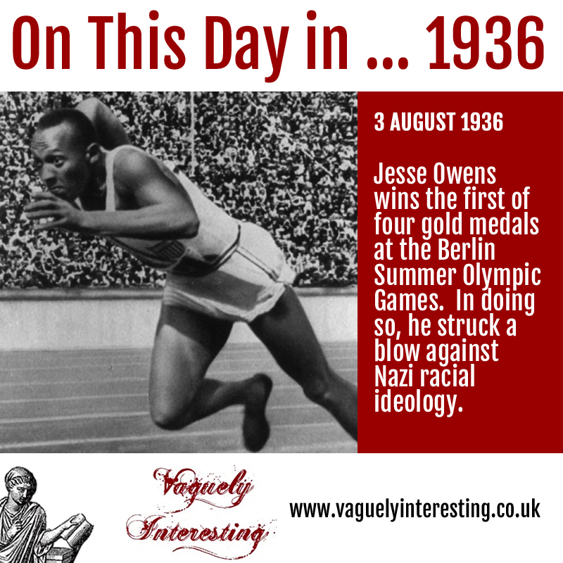 On this day 03 08 1936 Jesse Owens wins his first gold at the Berlin Olympics