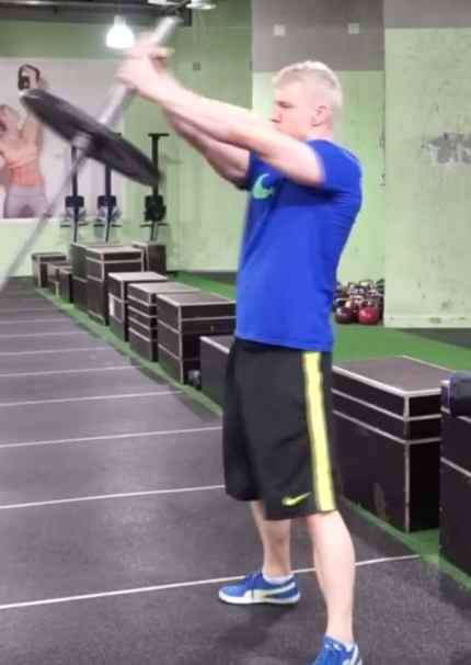 barbell twist for obliques 2