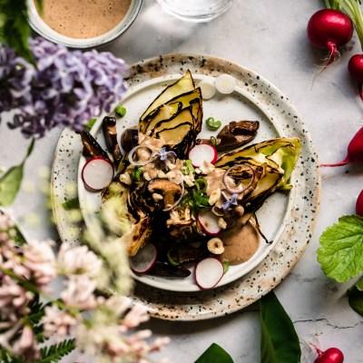 Charred cabbage wedges & vanilla hazelnut miso dressing