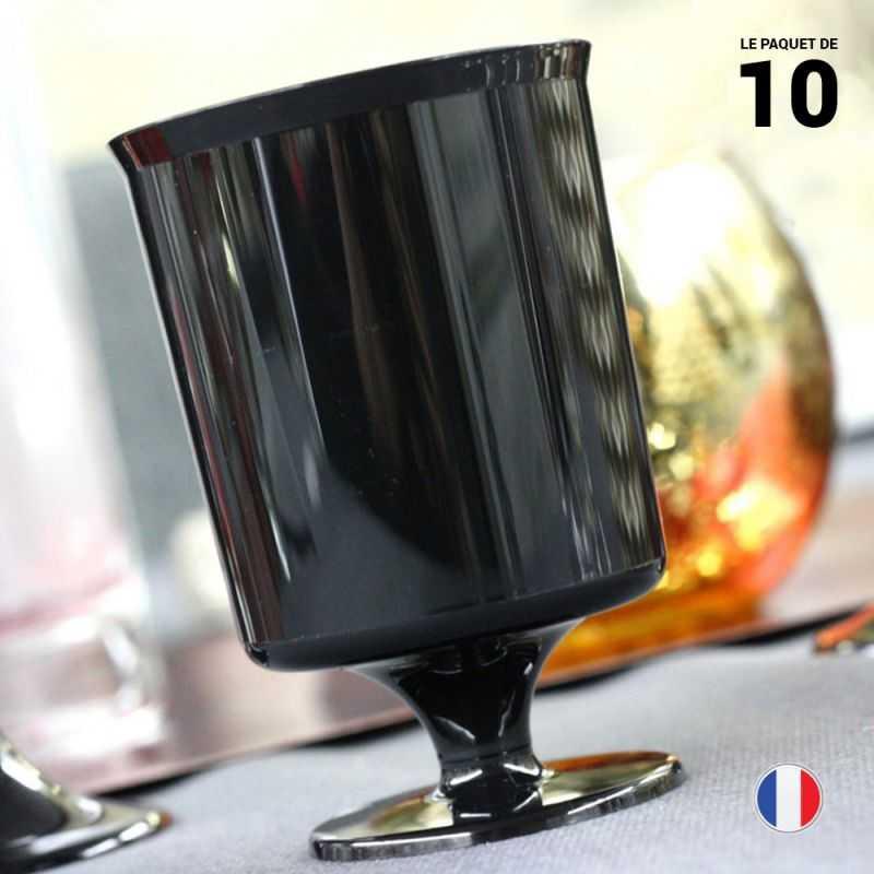 10 verres a vin noir 16 cl recyclables reutilisables