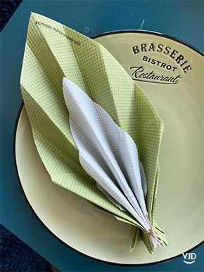 Un Pliage De Serviette En Feuille D Arbre Bi Colore Vaisselle Jetable Discount