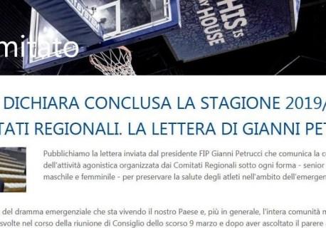 LA FIP DICHIARA CONCLUSA LA STAGIONE 2019/20 DEI COMITATI REGIONALI. LA LETTERA DI GIANNI PETRUCCI