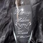 vase gravure mariage colombes et coeurs enlacées,beuvry la foret,gravure sur verre,somain,marchiennes,valenciennes