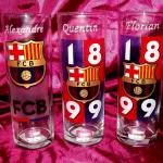 verre FCB barcelone gravure sur verre prénom