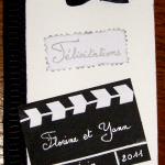 carte félicitation mariage thème cinema noir et blanc
